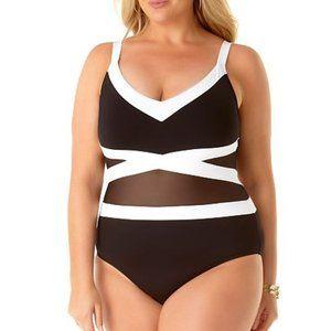 Anne Cole Colorblock Mesh One-Piece Swimsuit 24W